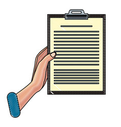 hand holding clipboard scribble vector image