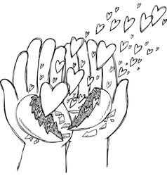 Hands full of flying hearts vector image