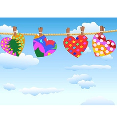 Hanging loving hearts in blue sky vector