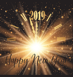 happy new year background with clock face and vector image