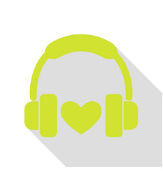 headphones with heart pear icon with flat style vector image
