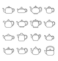 kettle teapot icons set outline style vector image