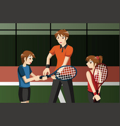 kids in a tennis club with the instructor vector image