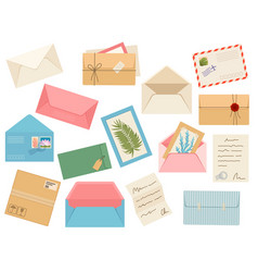 Letters cards and envelopes postcard paper mail vector