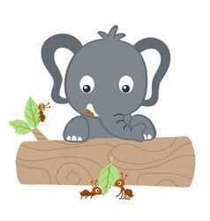 Little elephant with ants on tree trunk cartoon vector