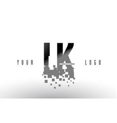 Lk l k pixel letter logo with digital shattered vector