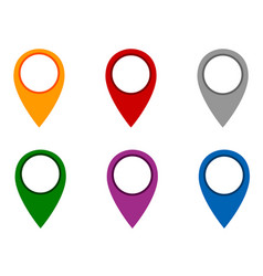 Locator pins in various colors vector