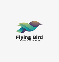 Logo flying bird gradient colorful style vector