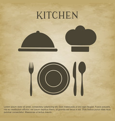 logo kitchen icons vector image