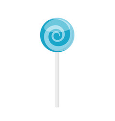 Lollipop candy with blue spiral pattern vector