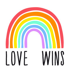 love wins rainbow gender equality vector image