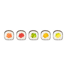 Maki rolls with salmon tuna cucumber avocado vector