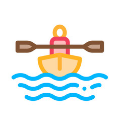 Man in boat with oar canoeing icon vector