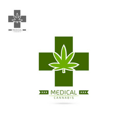 medical cannabis emblems label logo set template vector image