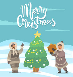 Merry christmas arctic people with pine tree card vector