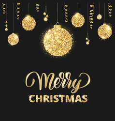 merry christmas card with lettering and glitter vector image