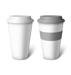 Mockup white coffee cup vector
