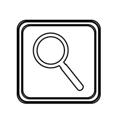 monochrome contour of button with magnifying glass vector image