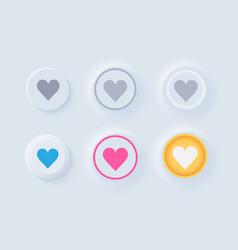 Newmorphic ui like buttons light set vector
