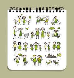 notebook design people set vector image