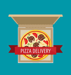 open pizza box flat style design vector image