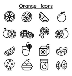 orange icon set in thin line style vector image