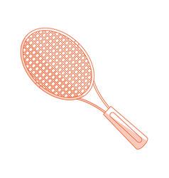 orange shading silhouette cartoon tennis racquet vector image
