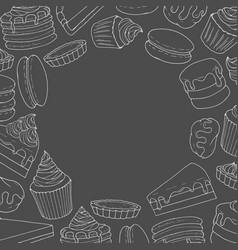 Pastry frame cakes pies muffins pancakes vector