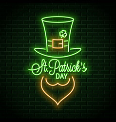 patricks day neon banner neon leprechaun green vector image