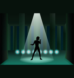 Pillar ruined stage with light and man silhouette vector