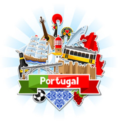 Portugal background with stickers portuguese vector