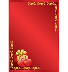 red romantic frame with golden decor vector image