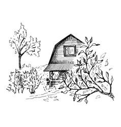 Rural landscape sketch hand drawn landscape with vector
