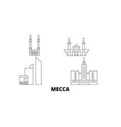 Saudi arabia mecca line travel skyline set saudi vector