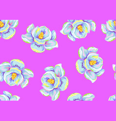 Seamless pattern with magnolia flowers decorative vector