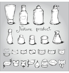 Set bottles tubes and them label vector