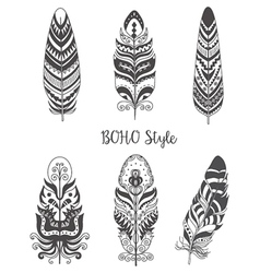 Set of decorative bird feather for boho style vector