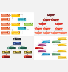 Set of four colorful business structure vector