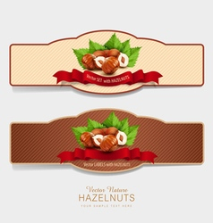 Set of horizontal labels with hazelnuts vector
