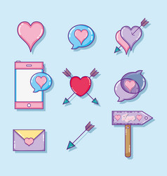 Set of love and hearts cartoons vector