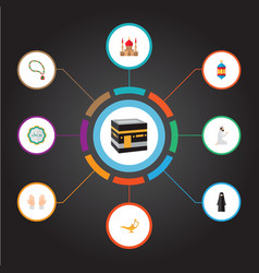 set of ramadan icons flat style symbols with vector image