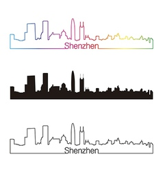 Shenzhen skyline linear style with rainbow vector image