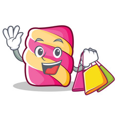 Shopping marshmallow character cartoon style vector