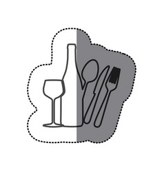 Silhouette wine bottle glass and cutlery icon vector