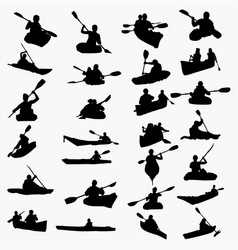 silhouettes of kayaking vector image