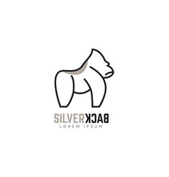 silverback gorilla logo symbol icon vector image