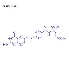 Skeletal formula folic acid drug chemical vector