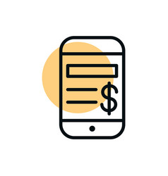 smartphone payment money app shopping line style vector image