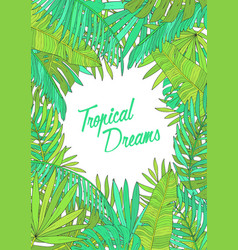 summer background with tropical leaves monstera vector image