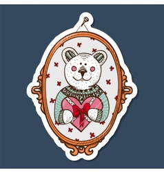 Teddy bear with heart present vector image